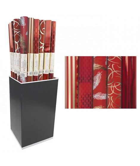 CLAIREFONTAINE Rouleau papier cadeau Premium - 2 x 0,7 m - 80 g / m² - 6 motifs assortis sous film - Rouge