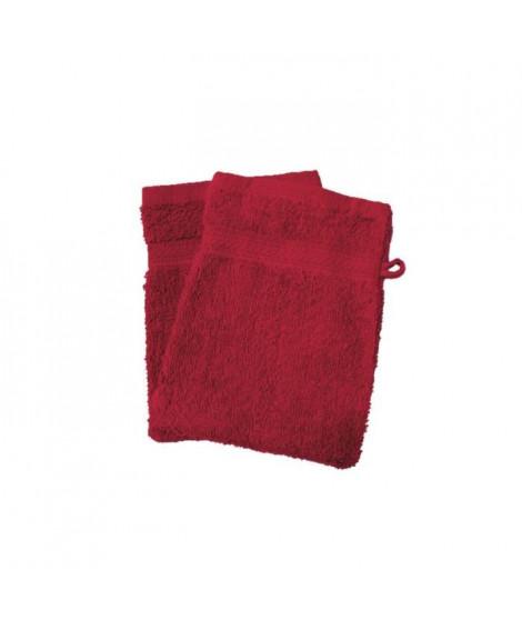 SOLEIL D'OCRE Lot de 2 gants de toilette 100% Coton DOUCEUR 16x21 cm - Rouge