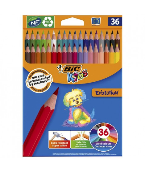 BIC Kids Evolution ECOlutions Crayons de Couleur - Coloris Assortis, Coloris Assortis, Etui Carton de 36