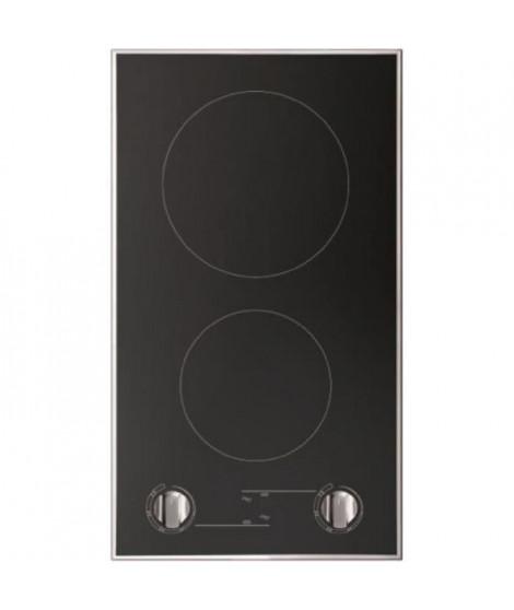 HUDSON TDO 2 MN - Table de cuisson vitrocéramique domino - 2 zones - 3000 W - L 30 cm - Revetement verre - Noir