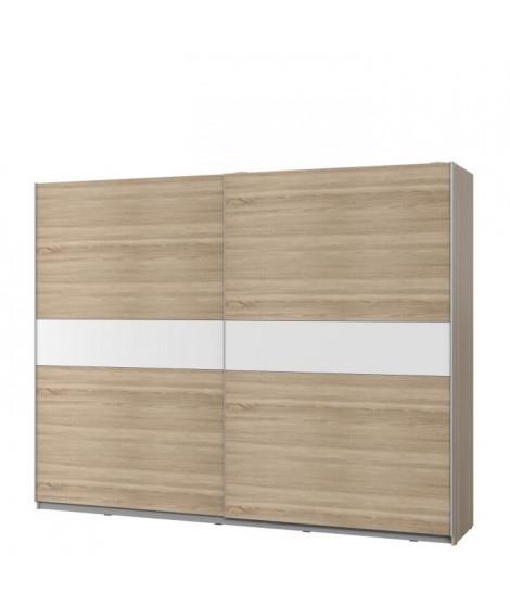 ATOS Armoire 2 portes coulissantes - Décor chene sonoma et blanc -  L 269,9 x P 61,2 x H 209,7 cm