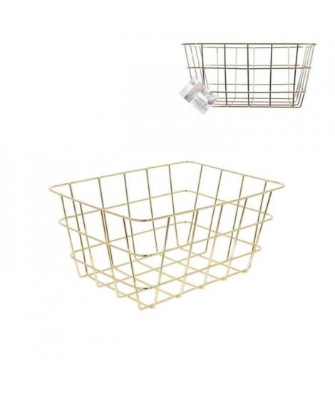 THE HOME DECO FACTORY Panier de rangement filaire M12 Doré - 24,4 x 18,6 cm