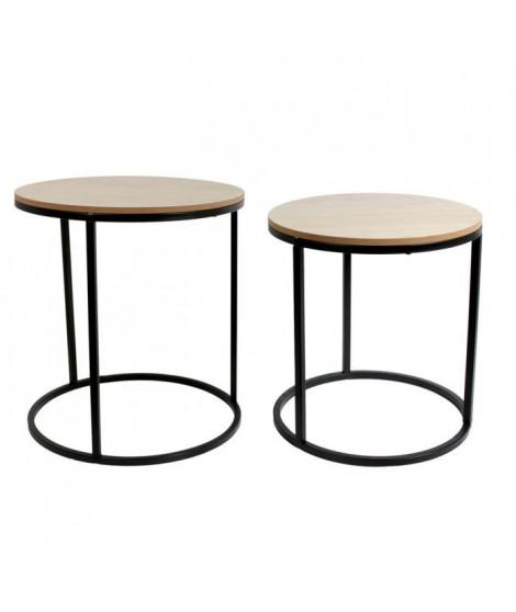 Lot de 2 Tables gigognes rondes en bois et Métal - L 38 x P 38 x H 42 cm
