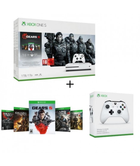 Xbox One S 1 To + 5 jeux Gears of War + 1 mois d'essai au Xbox Live Gold et Game Pass + Manette sans fil Xbox One blanche