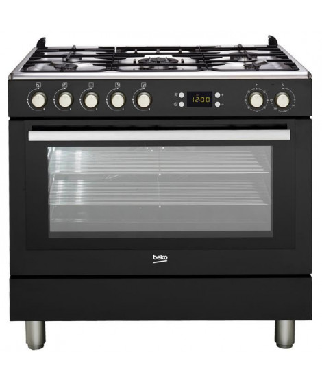 BEKO GM15310DB Piano de cuisson - Table gaz 5 foyers - 3,3kW - Four multifonction- 112L - A++- Larg 90cm x Haut 85cm - Colori…