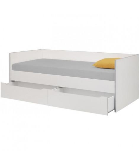 RYAN Lit enfant banquette 2 tiroirs 90 x 200 cm - Blanc