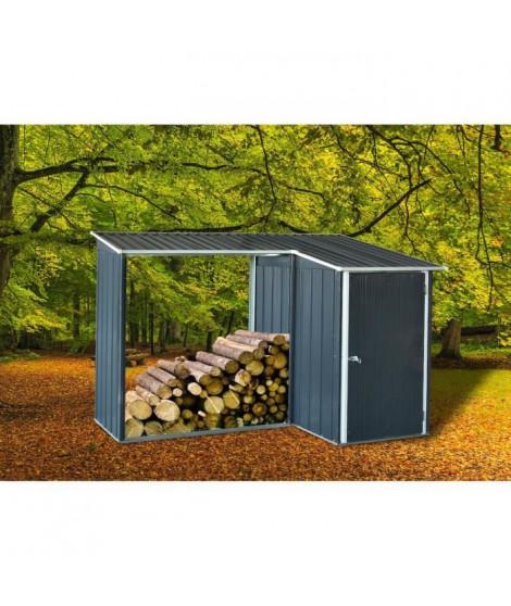 Abri de jardin en métal 1m² avec abri bûches 1,1m² - 1 porte battante - Gris anthracite
