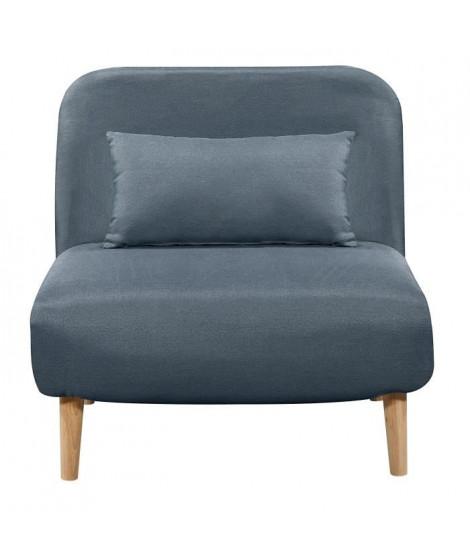 BEDZ Banquette BZ 1 place - Tissu bleu acier - Style scandinave - L 85 x P 90 cm