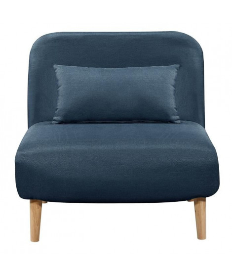 BEDZ Banquette BZ 1 place - Tissu bleu pétrole - Style scandinave - L 85 x P 90 cm