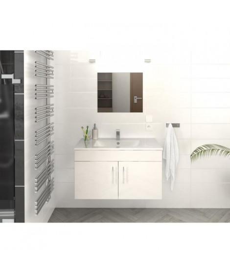 LIMA Ensemble salle de bain simple vasque L 80 cm - Blanc brillant