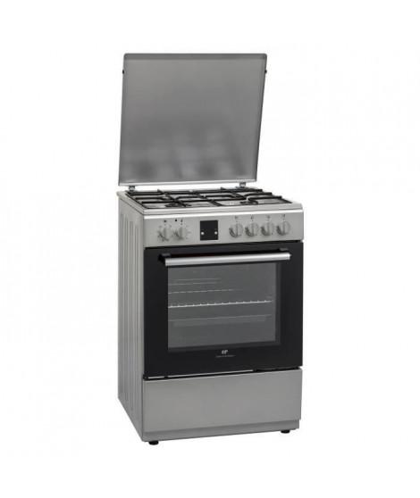 CONTINENTAL EDISON CECG6060FCS-Cuisiniere table gaz-4 foyers-Four électrique chaleur brassée-Catalyse-56 L-L 60 x H 85 cm-Silver