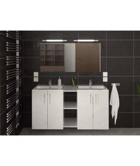 LIMA Ensemble salle de bain double vasque L 120 cm - Blanc brillant
