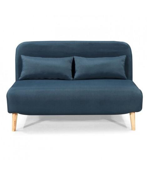 BEDZ Banquette BZ 2 places - Tissu bleu pétrole - Style scandinave - L 132 x P 90 cm