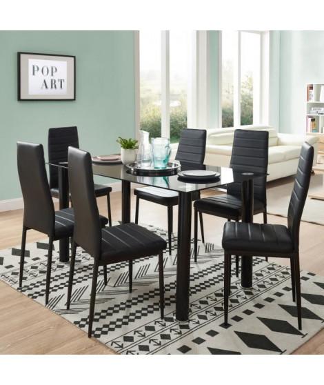 BELAIR table a manger de 4 a 6 personnes style contemporain + 6 chaises en simili  noir mat - L 140 x l 80 cm