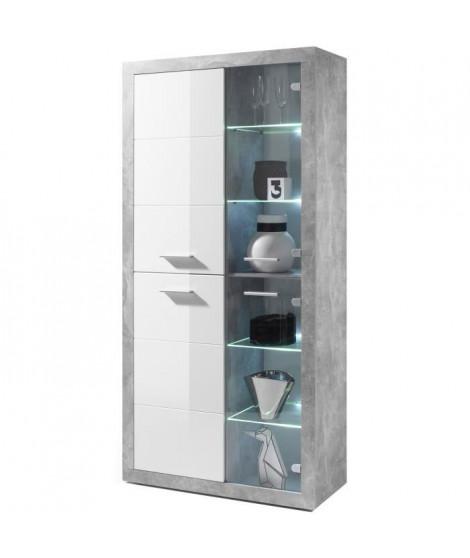 STONE Vitrine LED style contemporain décor béton et blanc brillant - L 92 cm