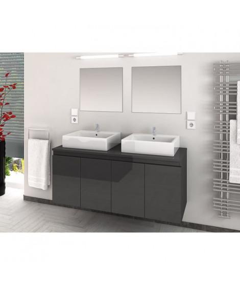 CINA Ensemble salle de bain double vasque L 120 cm - Gris laqué