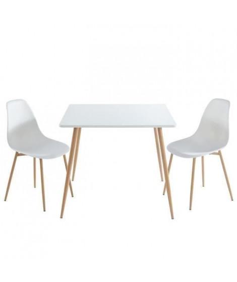 BODO Ensemble table a manger carrée L 90 cm + 2 chaises - Style scandinave - Décor bois et blanc