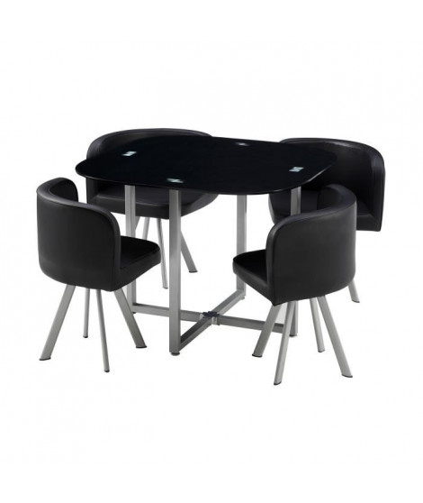 COSMIC Ensemble table a manger de 2 a 4 personnes + 4 chaises contemporain en métal laqué et plateau en verre - L 100 x l 100 cm