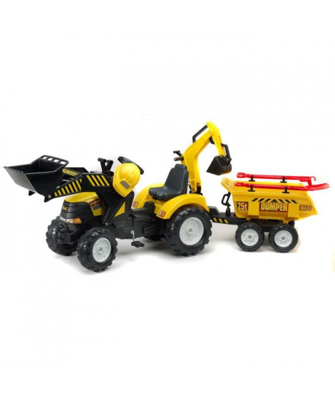 FALK Tractopelle a pédales de chantier Power Loader - Jaune - 1000WH