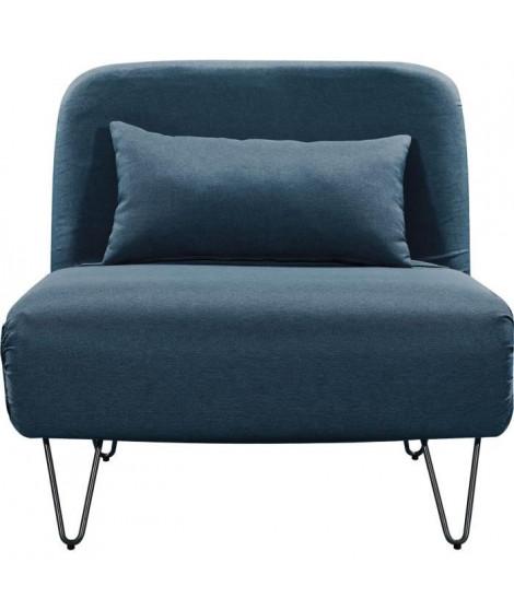 BEDZ Banquette BZ 1 place - Tissu bleu pétrole - Vintage - L 85 x P 90 cm