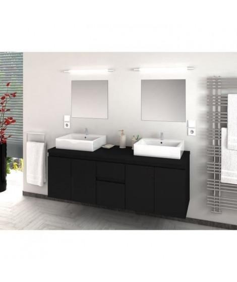 CINA Ensemble salle de bain double vasque L 150 cm - Noir laqué mat