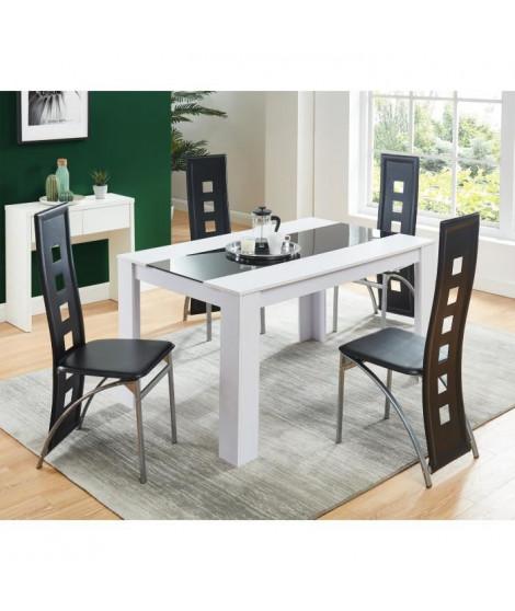 DAMIA Ensemble table a manger 4 a 6 personnes blanc et verre + 4 chaises simili - Style contemporain - L 140 x l 90 cm