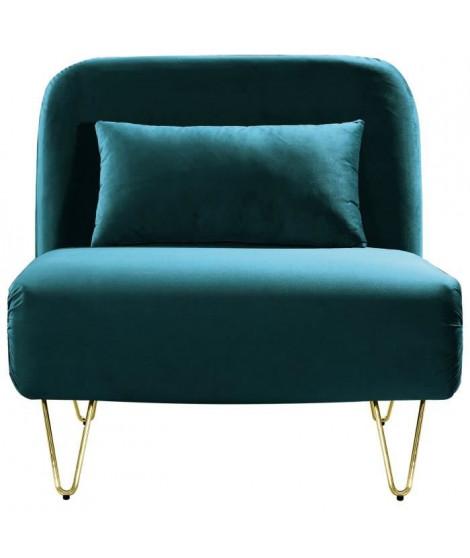 BEDZ Banquette BZ 1 place - Velours bleu canard - Vintage - L 85 x P 90 cm