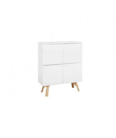 KALLA - Buffet haut blanc 4 portes - Blanc - 110 x 40 x 139 cm