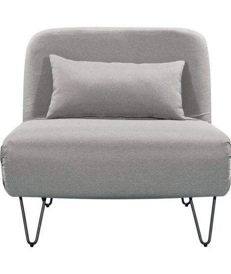 BEDZ Banquette BZ 1 place - Tissu gris clair - Vintage - L 85 x P 90 cm