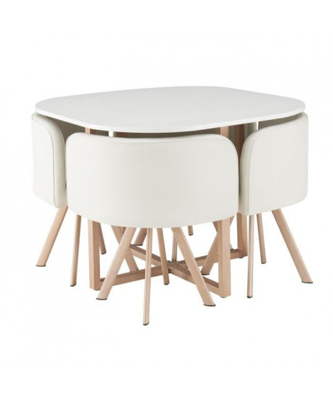 LUND Ensemble table a manger 4 personnes style industriel décor chene + 4 chaises simili blanc - L 100 x l 100 cm