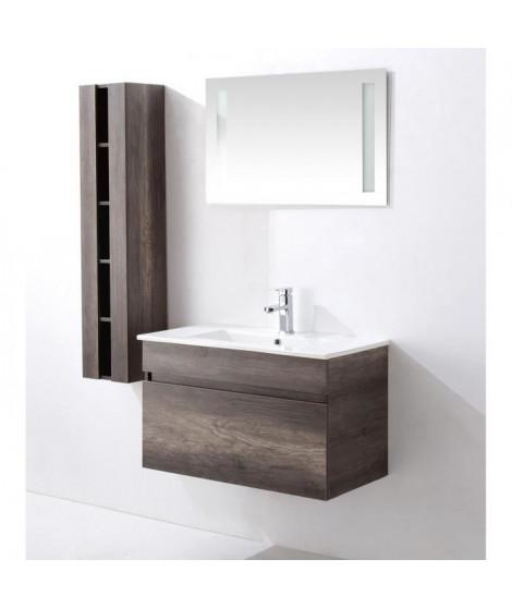 ALBAN Ensemble salle de bain simple vasque avec miroir L 80 cm - Décor bois vintage