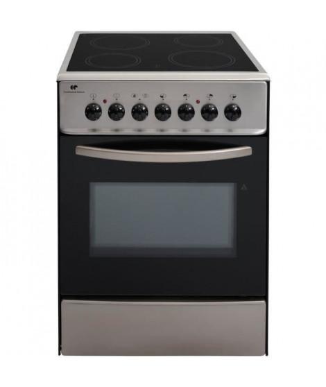 CONTINENTAL EDISON CVMC6060I - Cuisiniere table vitrocéramique-4 foyers- 1700W-Four électrique- Catalyse-61L-A-L60XH85cm-Inox