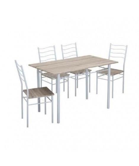NINA Ensemble table a manger de 4 a 6 personnes + 4 chaises - Contemporain - En métal et MDF décor chene et blanc - L 120 x l…