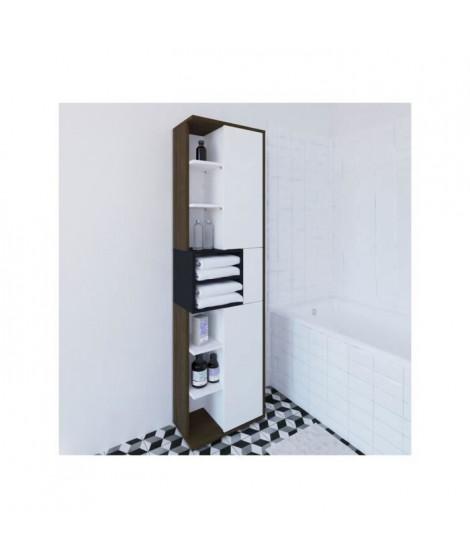 KUBE Colonne de salle bain L 50 cm - Décor noyer et gris anthracite mat
