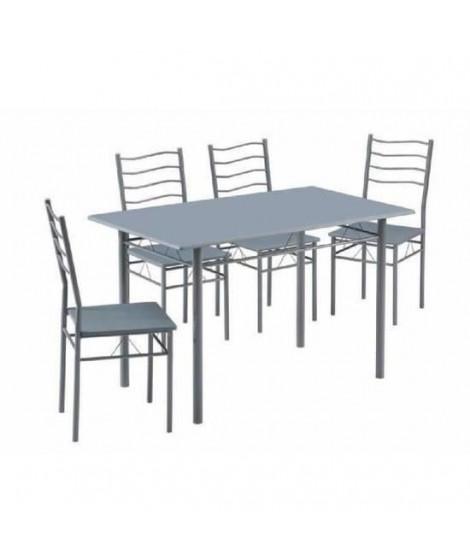 NINA Ensemble table a manger de 4 a 6 personnes + 4 chaises - Contemporain - En métal et MDF gris laqué - L 120 x l 70 cm