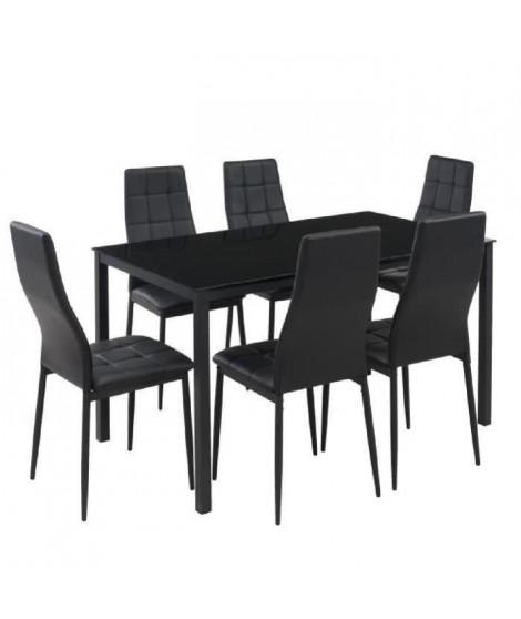 SELVA Ensemble table a manger de 6 a 8 personnes + 6 chaises style contemporain en métal laqué noir - L 140 x l 80 cm