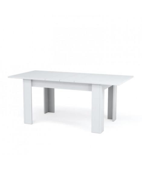 KENDRA Table a manger extensible de 6 a 8 personnes style contemporain mélaminé blanc brillant - L 140-190 x l 90 cm