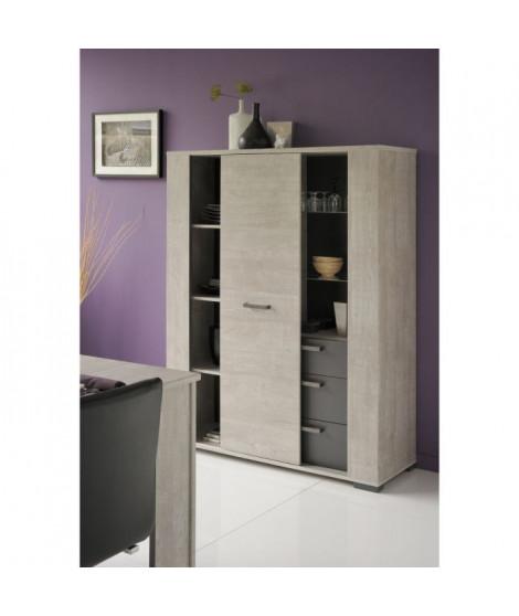 LOFT Buffet haut style contemporain - Décor chene - L 117 cm