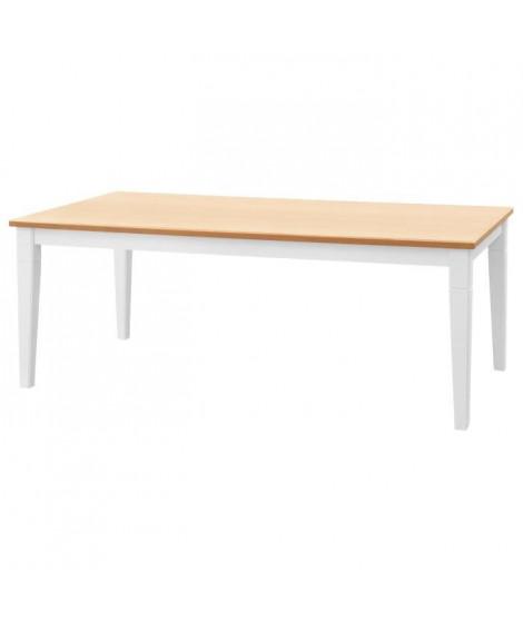 CISA Table a manger de 8 a 10 personnes style contemporain placage chene + pieds droits fuselés blanc mat - L 200 x l 100 cm