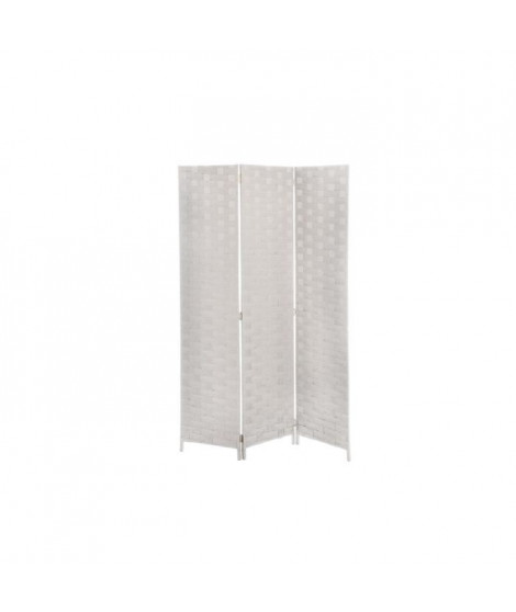 Paravent H.170 x 120 cm - Contexture bois - Tressage osier - Creme