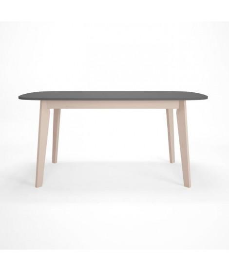 NAISS Table manger extensible 6 a 10 personnes style contemporain anthracite et placage bouleau verni naturel - L 160 / 200 x…