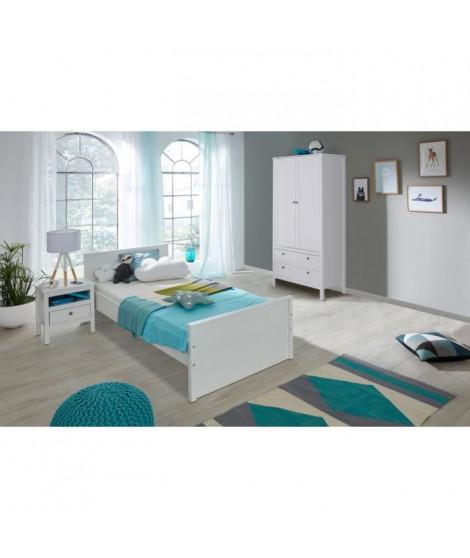 OLE Chambre enfant complete 3 pieces style romantique blanc mat - l 90 x L 200 cm
