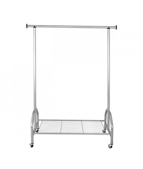 Portant Stefano - Acier - 120x50x165 cm - Aluminium - Avec tringle a vetement