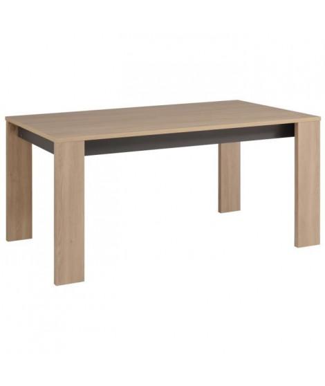 LINK Table a manger de 6 a 8 personnes style contemporain décor chene brooklyn et gris ombre - L 160 x l 88 cm