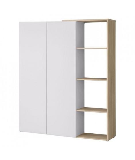 FINLANDEK Bibliotheque TOOTING - Contemporain - Blanc mat et décor chene sonoma structuré 3D - L 150,70 cm