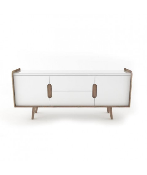 KABINO Buffet blanc laqué brillant - L 170 x P 40 x H 75 cm