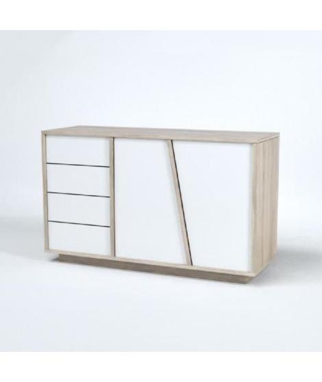NATURE Buffet scandinave décor chene et Blanc - L 123 cm