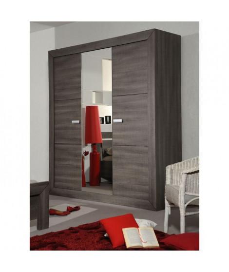 AVIGNON Armoire 3 portes style contemporain coloris bois gris - L 200 cm