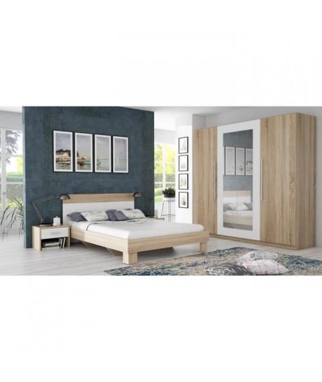 HELEN Chambre adulte complete style contemporain décor chene Sonoma et blanc - l 140 x L 200 cm