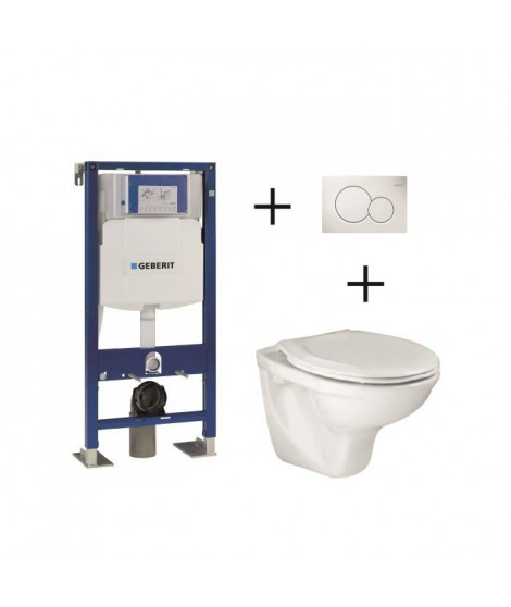 Pack complet wc suspendu Bâti-support 112 cm GEBERIT  + plaque blanche + cuvette Lyra + abattant
